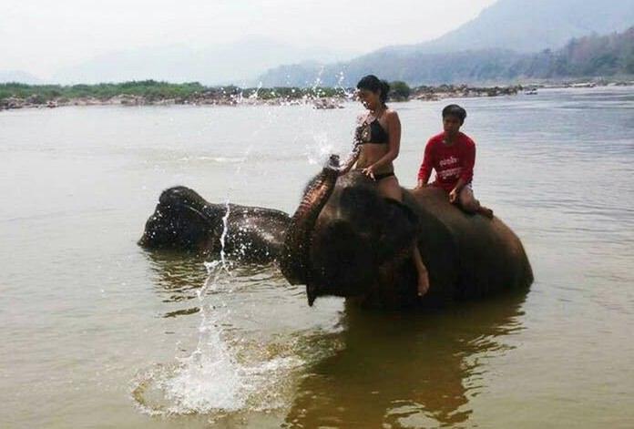 Priyanka Yoshikawa (left) rides an elephant in the Mekong River in Luang Prabang, Laos. (Prianka Yoshikawa via AP)