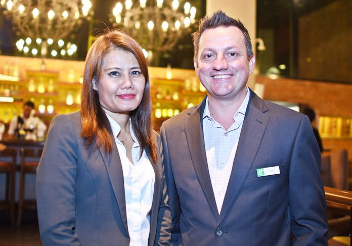 Yuwadee Waisoongnoen, assistant director of sale-MICE, and Daniel Boswell, F&B director at Holiday Inn Pattaya.