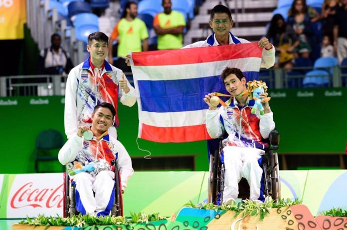Watcharaphon Vongsa (front right) and Worawut Saengampa (front left) won gold and silver respectively for Thailand in the Individual Boccia at the Rio Paralympics.