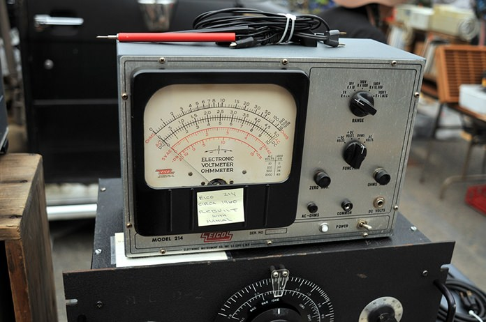 A vintage electronic voltmeter/ohmmeter, circa 1960, is displayed at MIT's Radio Society flea market on the campus of the Massachusetts Institute of Technology in Cambridge, Mass. (AP Photo/Collin Binkley)