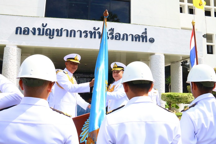 Royal Thai Navy Region 1 Adm. Rangsalit Sattayakul presented the flag and mission statement for the Gulf Monitoring and Battle Squadron to Vice Adm. Surasak Metayapa at the Region 1 Operations Headquarters.