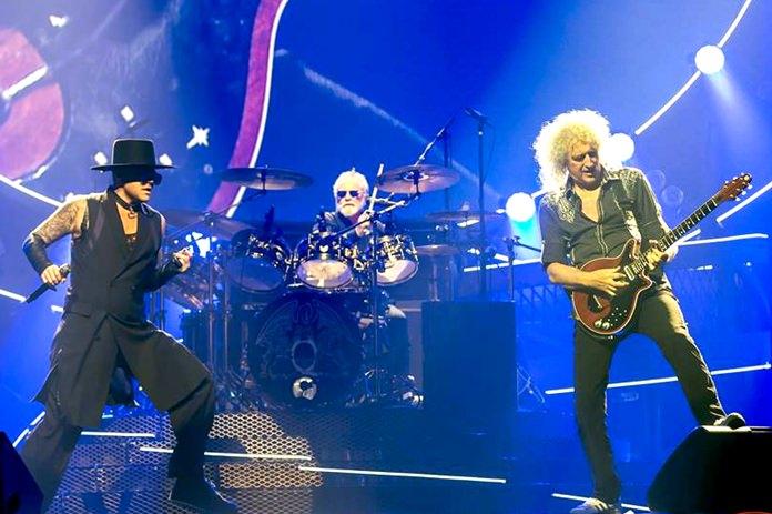 Queen plus Adam Lambert in full flow at the Impact Arena in Bangkok, Friday, Sept. 30.