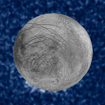 This Jan. 26, 2014 image provided by NASA shows a composite image of possible water plumes on the south pole of Jupiter's moon Europa. (NASA via AP)