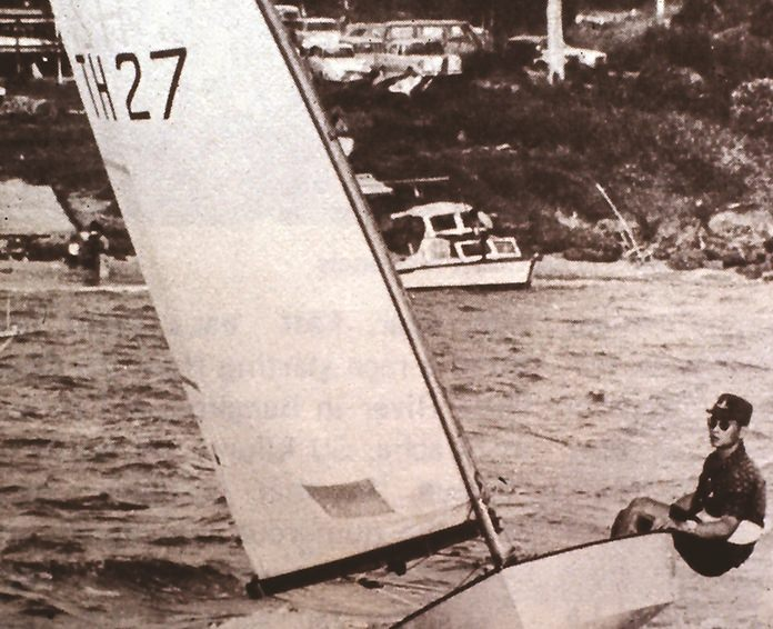 "HM the King sailing his own-built OK dinghy, the ""Vega"" out off the Royal Varuna Yacht Club, South Pattaya."