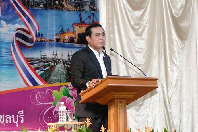 Prime Minister Prayut Chan-o-cha opened a new education center and heard directly from residents about growth-related environmental problems during a visit to Chonburi Province.