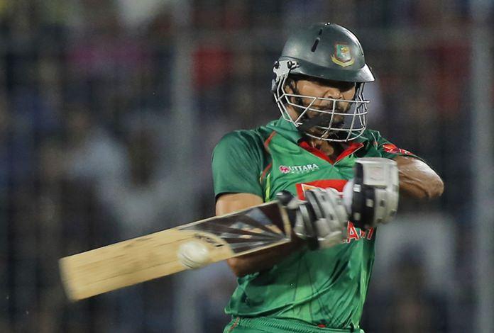 Bangladesh's captain Mashrafe Mortaza plays a shot during the second one-day international cricket match against England in Dhaka, Bangladesh, Sunday, Oct. 9. (AP Photo/A.M. Ahad)