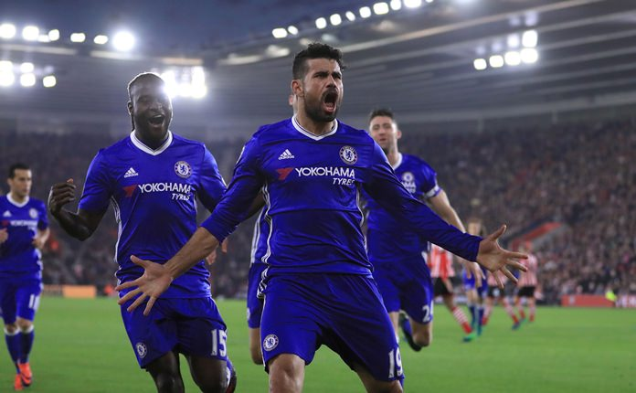 Chelsea's Diego Costa celebrates scoring his side's second goal against Southampton during their English Premier League match at St Mary's Stadium in Southampton, Sunday Oct. 30. (John Walton / PA via AP)