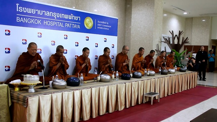 Revered monks chant holy funeral prayers at Bangkok Hospital Pattaya.