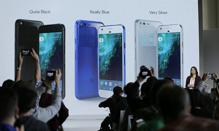 In this Tuesday, Oct. 4, 2016, file photo, Sabrina Ellis, Google director of product management, talks about the colors of the new Google Pixel phone during a product event, in San Francisco. Google's Pixel doesn't offer a lot that's new. Yet it's still one of the best out there (AP Photo/Eric Risberg, File)