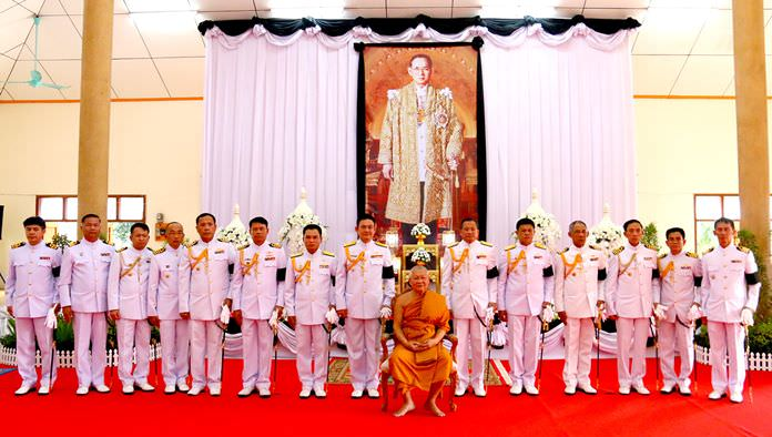 Base deputy commander Rear Adm. Sereepharb Sukcharoen presided over the Apidamm ceremony at Sattahip Temple, with district dean of monks Tatsaneeyakunakorn performing the religious rites.