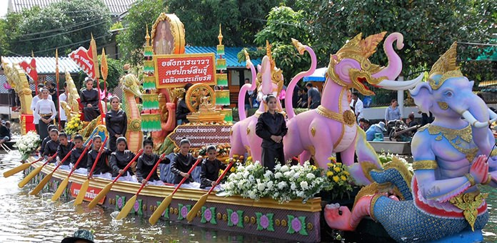 One of the many colorful boats shown by John Lynham on his presentation of Samut Prakan's Lotus Throwing Festival visited during the tour by PCEC members and guests.