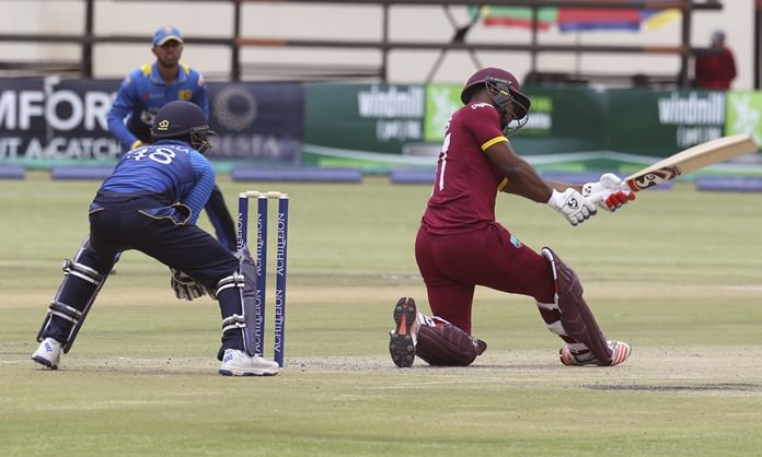 West Indies batsman Shai Hope plays a shot during the One Day cricket match against Sri Lanka at Harare Sports Club in Harare, Zimbabwe, Wednesday, Nov, 16. (AP Photo/Tsvangirayi Mukwazhi)