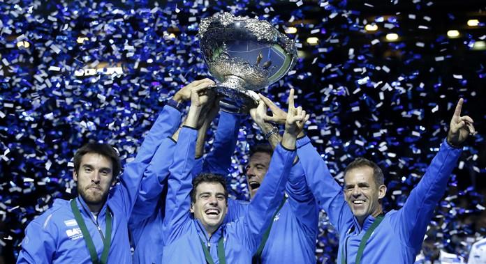 Argentina players lift the trophy after winning the Davis Cup final in Zagreb, Croatia, Sunday, Nov. 27. Argentina defeated Croatia 3-2. (AP Photo/Darko Vojinovic)