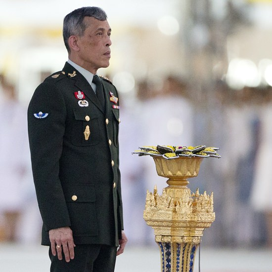 In this Sept. 26, 2015, file photo, HM King Vajiralongkorn Bodindradebayavarangkun hosts a ceremony at the official opening of Ratchapakdi Park in Hua Hin. (AP Photo/Mark Baker, File)