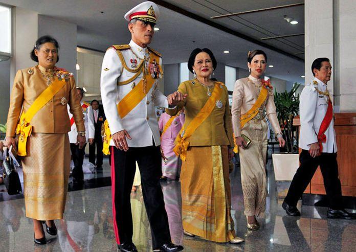 HM King Maha Vajiralongkorn Bodindradebayavarangkun during a royal appearance with HM Queen Sirikit, HRH Princess Maha Chakri Sirindhorn, and HRH Princess Chulabhorn Walailak.