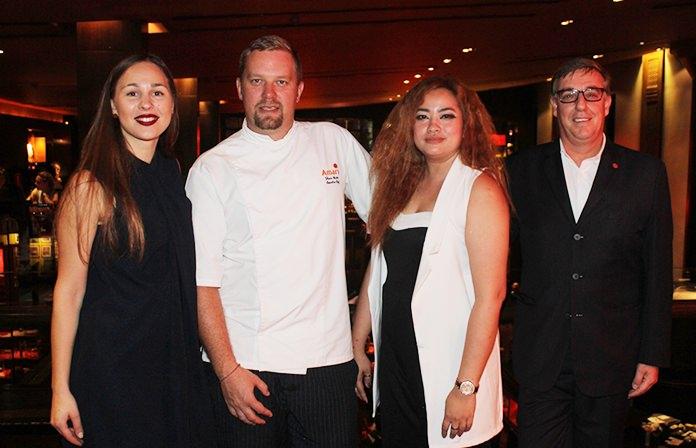 (L to R) Liepa Olsauskaite, Wine Brand Ambassador for Pernod Ricard Thailand, Shaun Venter, executive chef at Amari Pattaya, Natthapaporn Noichan-ad, customer development manager at Pernod Ricard Thailand, and Richard Gamlin, resident manager at Amari Pattaya.
