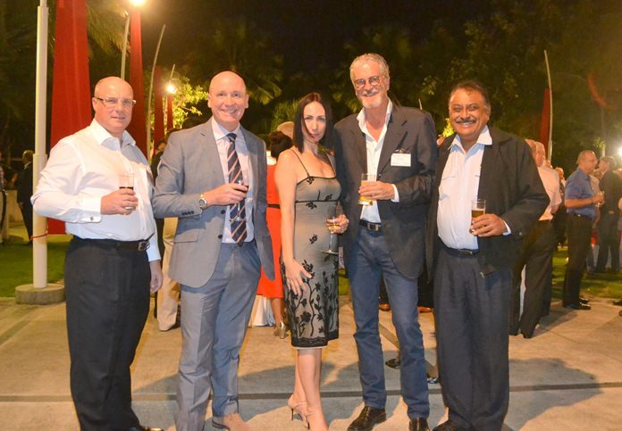 Mark Spiegel, vice chairman at the JFCCT, Grant Gillies, head of primary at Regents International School, Kirsty Paiboontanasin, director of operations at Regents School, Jo Klemm, International Business and Marketing Director at Go Property, and Peter Malhotra, MD of Pattaya Mail Media Group.