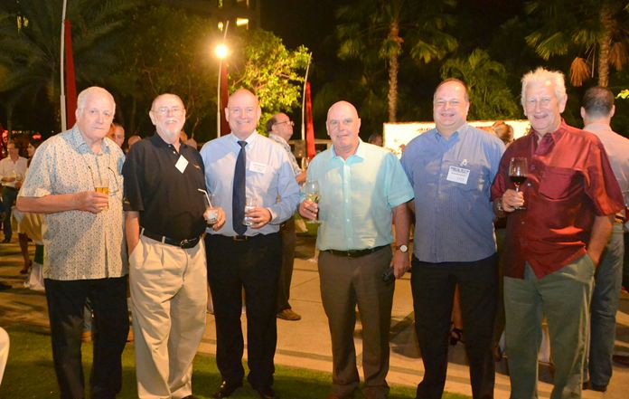 James Howard (left) sales manager at the Oil Field Equipment Services Co., William J. Gasson (2nd left), Regatta Co-chairman at Top Gulf, Graham Macdonald, (3rd left) former chairman of the BCCT and SATCC, Greg Watkins 2nd right) director of the BCCT together with guests enjoy the evening.