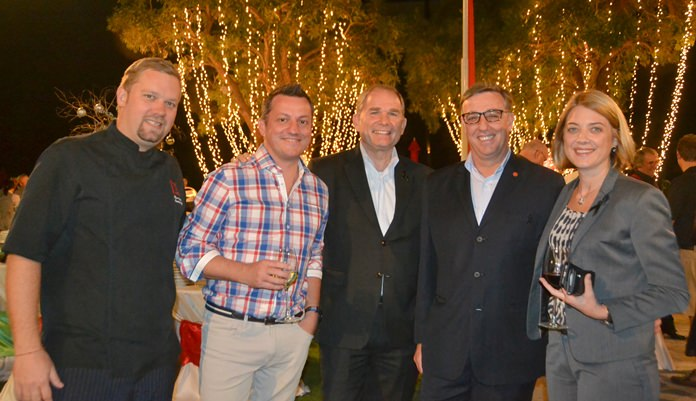 Shaun Venter, executive chef of Amari Pattaya, Daniel Boswell, F&B Director at Holiday Inn Pattaya, Rob Rijnders, Area GM of Amari Hotels, Richard Gamlin, RM of Amari Pattaya and Kate Gerits, GM of Holiday Inn Pattaya.