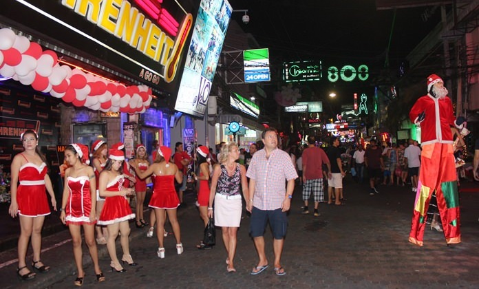 Walking Street is entertaining at any time of year, but especially during holidays like Christmas.