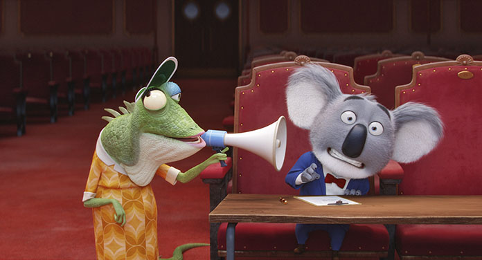 """This image shows characters Buster, voiced by Matthew McConaughey (right) and Miss Crawly, voiced by Garth Jennings from the animated film, """"Sing."""" (Universal Pictures via AP)"""