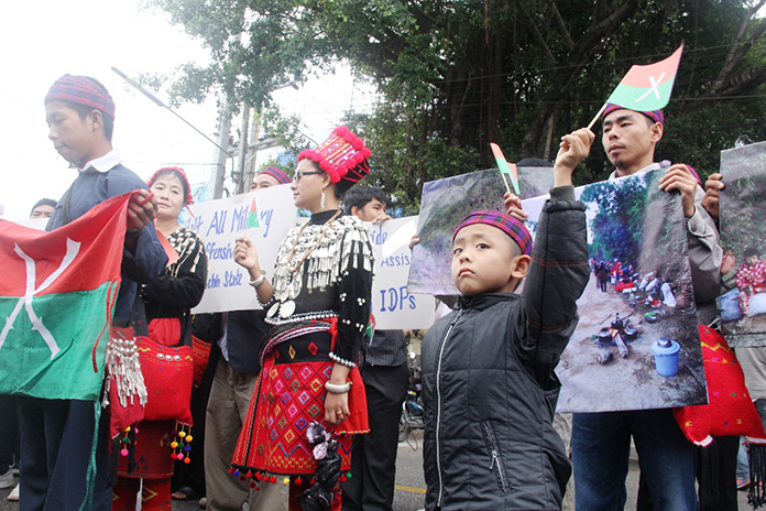 The Kachin community protested for about 30 minutes before disbanding peacefully.