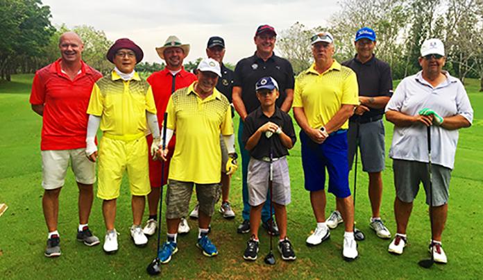 Outback golfers strike a pose at Kabinburi Golf Club.