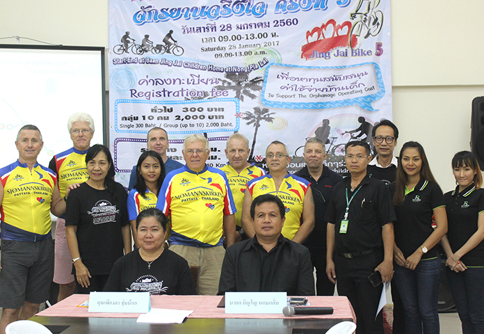 Pinno Homklan, mayor of Nongplalai and Piangta Chumnoi, director of Baan Jing Jai, joined cyclists at the press conference to announce the 5th Jing Jai Bike for Charity 2017 ride.