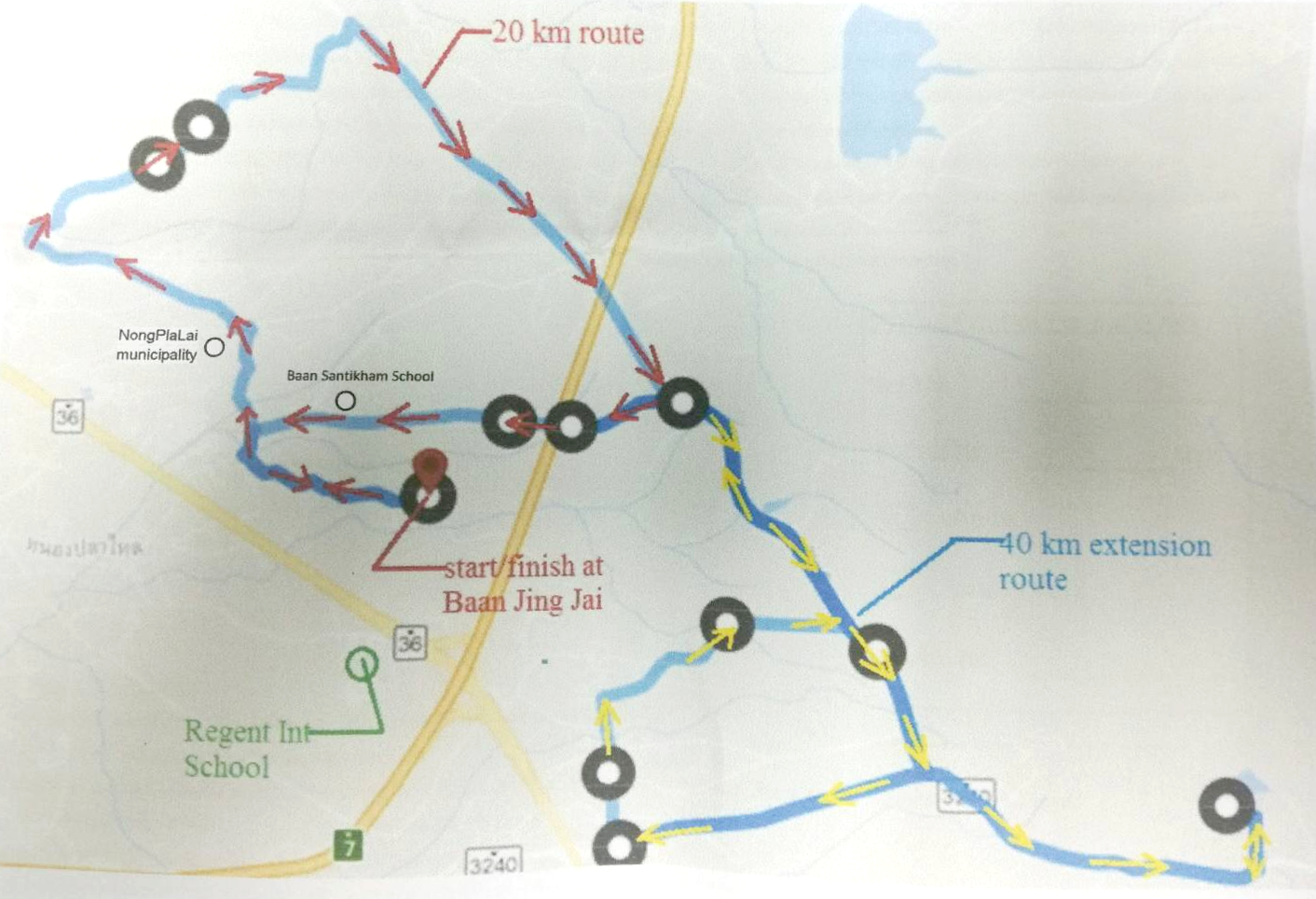 Map of the bike routes for the event.
