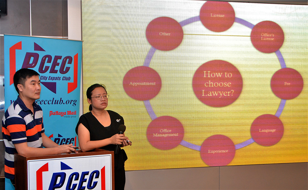 Oy and her partner Phadungphon Atthakitpaiboon, Esq., (Am) in the law firm of Phadungphon and Pattaraporn, answer questions from their PCEC audience about how to go about choosing a Thai lawyer.