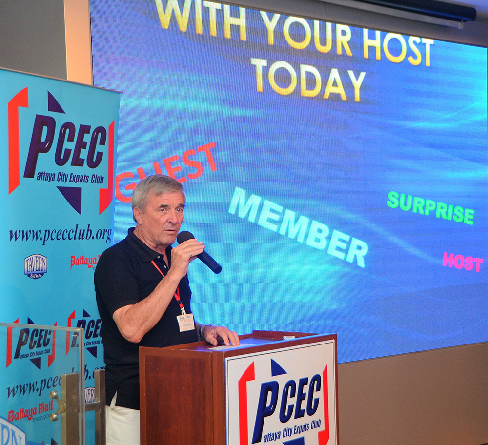Board Member Ron Hunter conducts the Open Forum portion of the PCEC meeting where an opportunity is given for the audience to offer comments or to ask and answer questions about Expat living in Pattaya.
