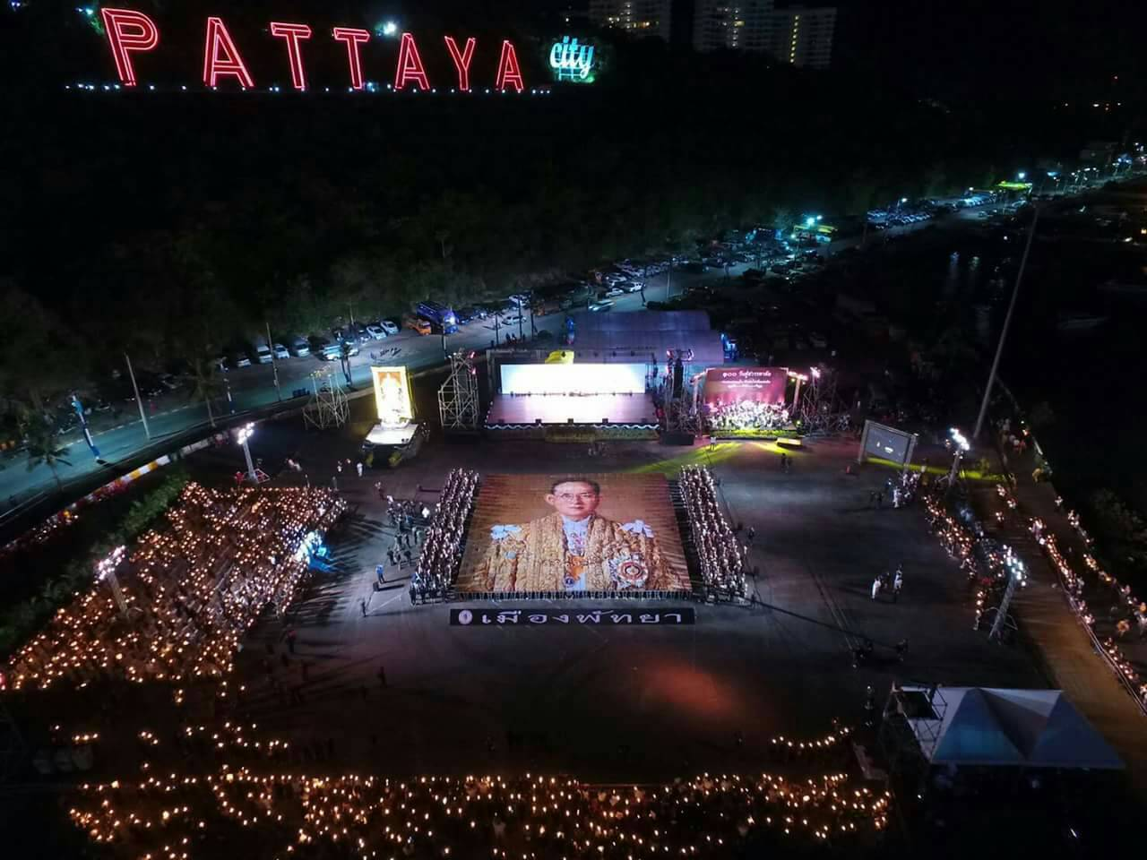 Pattaya region marks 100 days since kings passing pattaya mail the areas largest and arguably most beautiful commemoration took place at bali hai pier publicscrutiny Image collections