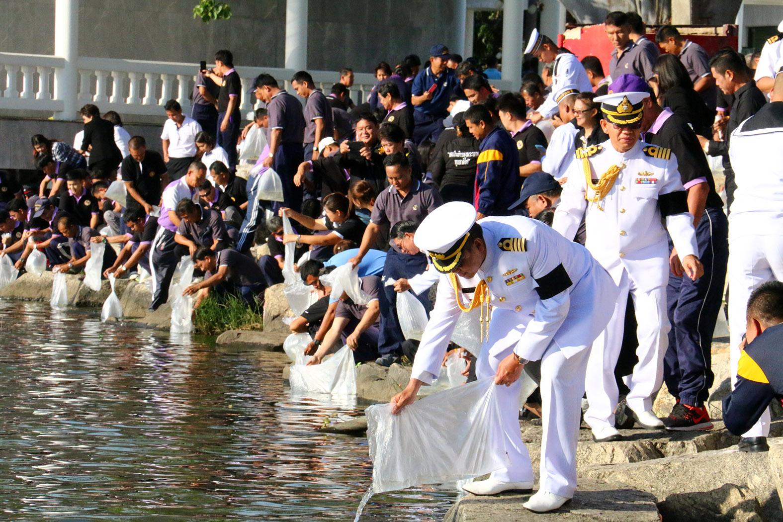 Sailors at the Sattahip Naval Base released 40,000 fish.
