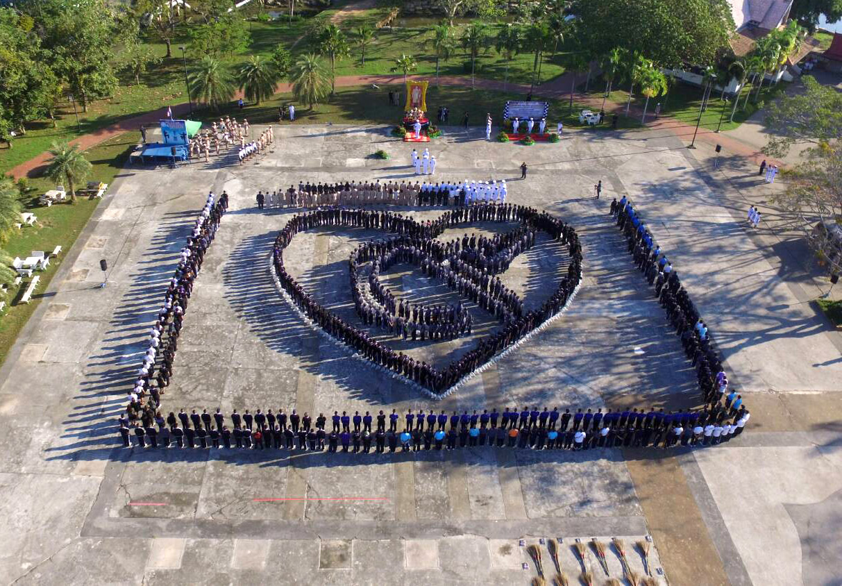 At the Sattahip Naval Base, sailors formed the Thai number 9 to honor King Rama IX.