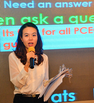 This lovely young lady is a university student asking for the assistance of those attending the PCEC meeting to help her in her studies by completing a questionnaire regarding Expats living in Thailand.