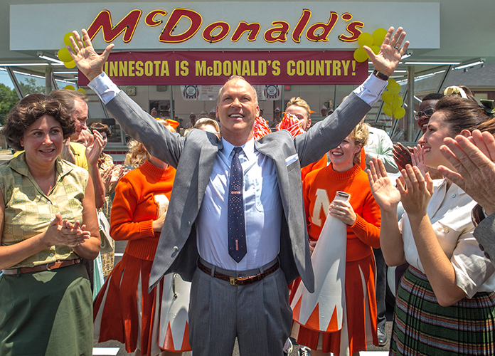 "This image shows Michael Keaton (center) in a scene from ""The Founder."" (Daniel McFadden/The Weinstein Company via AP)"
