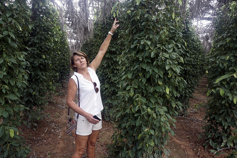 Nathalie Chaboche stands amongst her crop of peppers in La Plantation in Kampot, Cambodia. (AP Photo/Denis Gray)