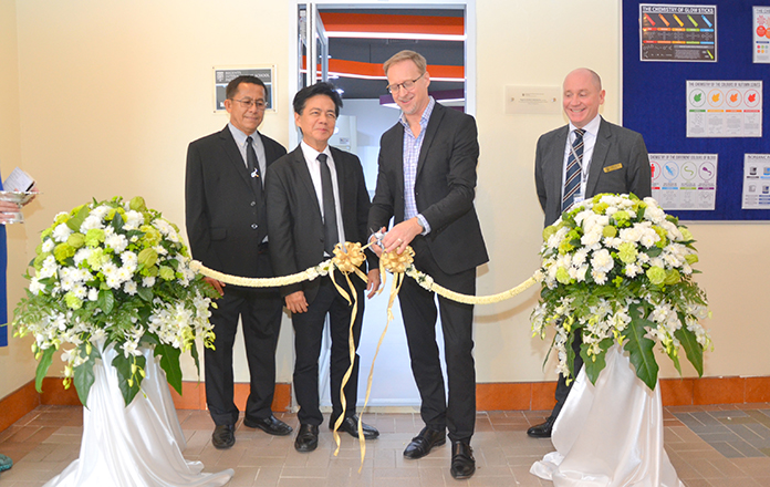 His Excellency the British Ambassador to Thailand, Brian Davidson is joined by Dr. Virachai Techavijit the founder of Regents as he, cuts the ribbon to officially open the new science laboratories at Regents International School Pattaya.