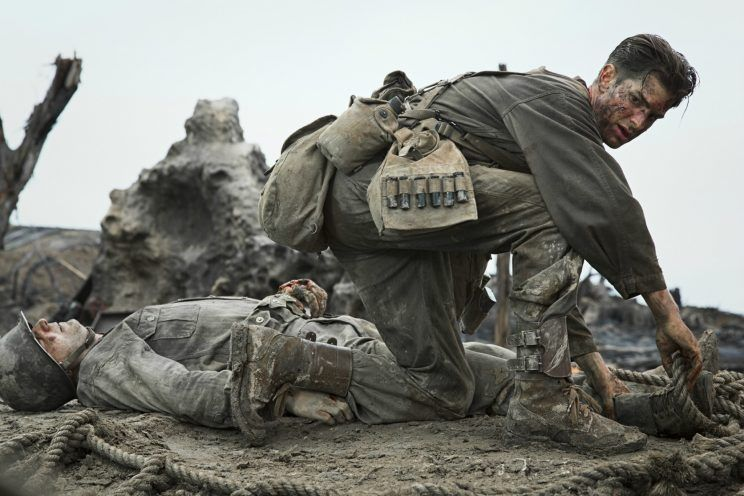 Andrew Garfield is shown in a scene from Mel Gibson's new movie, 'Hacksaw Ridge'. (Photo/Lionsgate)