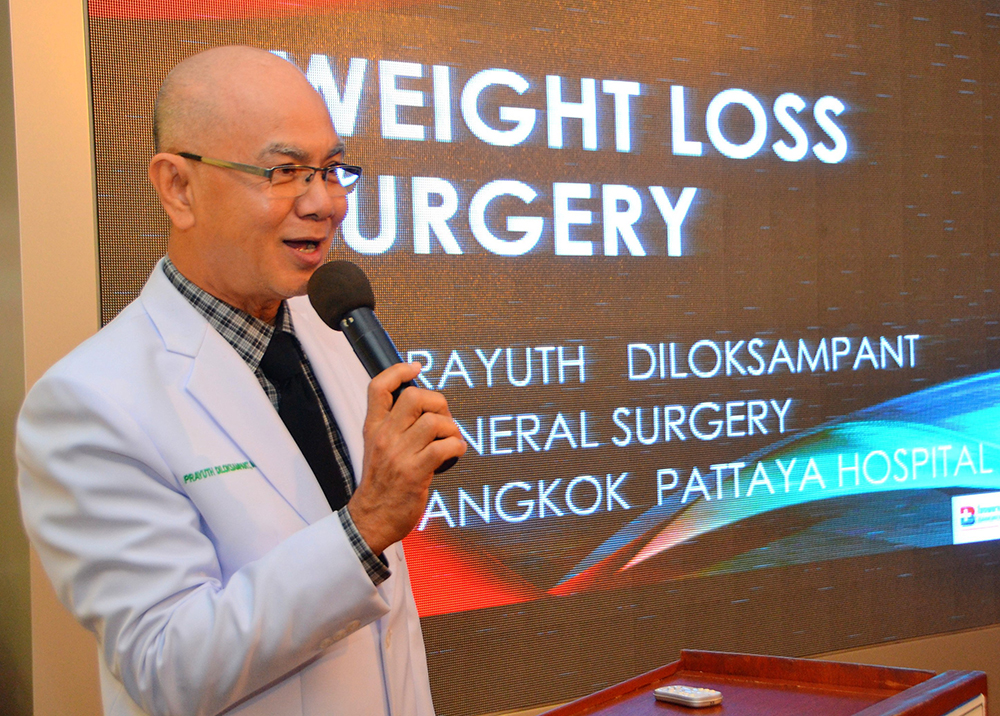 Dr. Prayuth Diloksampant, MD, gave a very well received presentation concerning obesity and the surgical options available to those affected. However, he mentioned that surgery was not recommended for those over age 60.