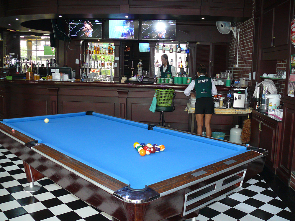 Competition standard pool table.