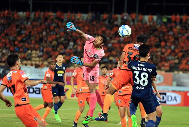 Pattaya United forward Chainarong Tathong (38) challenges the Nakhon Ratchasima defense for the ball during their Thai Premier League fixture in Korat, Saturday, March 4. (Photo courtesy Pattaya United)