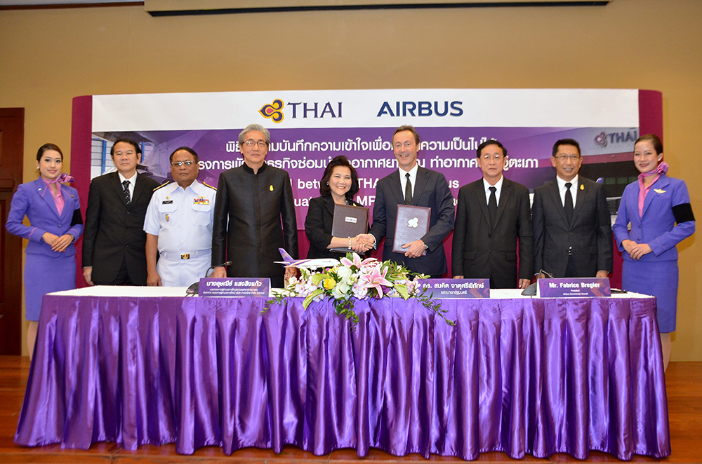 Deputy Prime Minister Somkid Jatusripitak presided over the signing of a Memorandum of Understanding between Thai Airways International Public Company Limited and Airbus to evaluate the development of a major new maintenance and overhaul facility at U-Tapao International Airport.