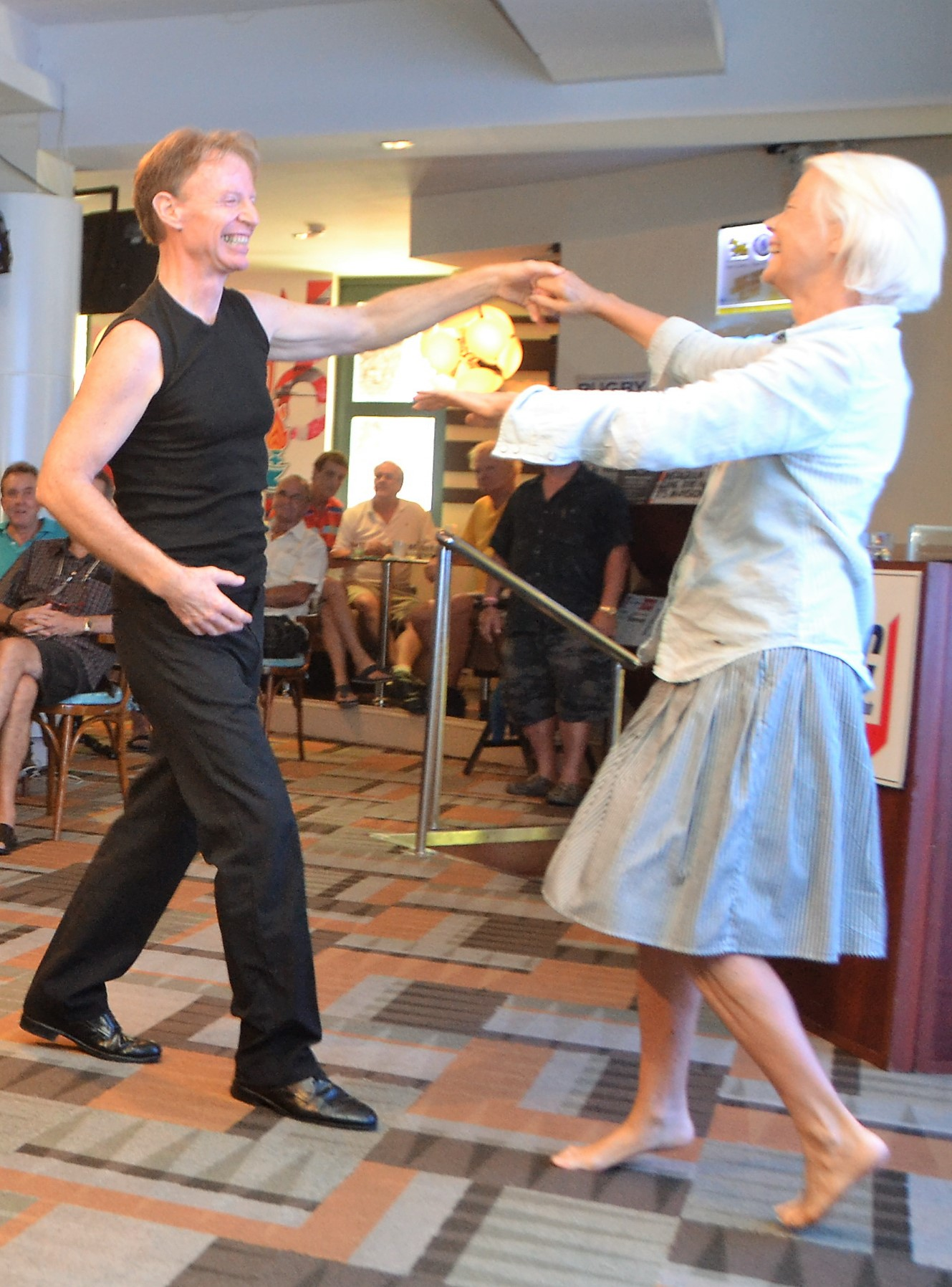 Ren Lexander closed his presentation by asking a woman he didn't know to come up and dance with him to the tune of Doris Day singing 'Perhaps Perhaps Perhaps', he and Arnica performed a charming improvised partner dance.