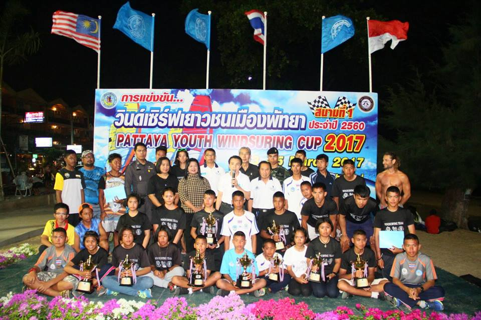 Young sailors pose for a group photo at the completion of the Pattaya Youth Windsurfing Cup 2017.