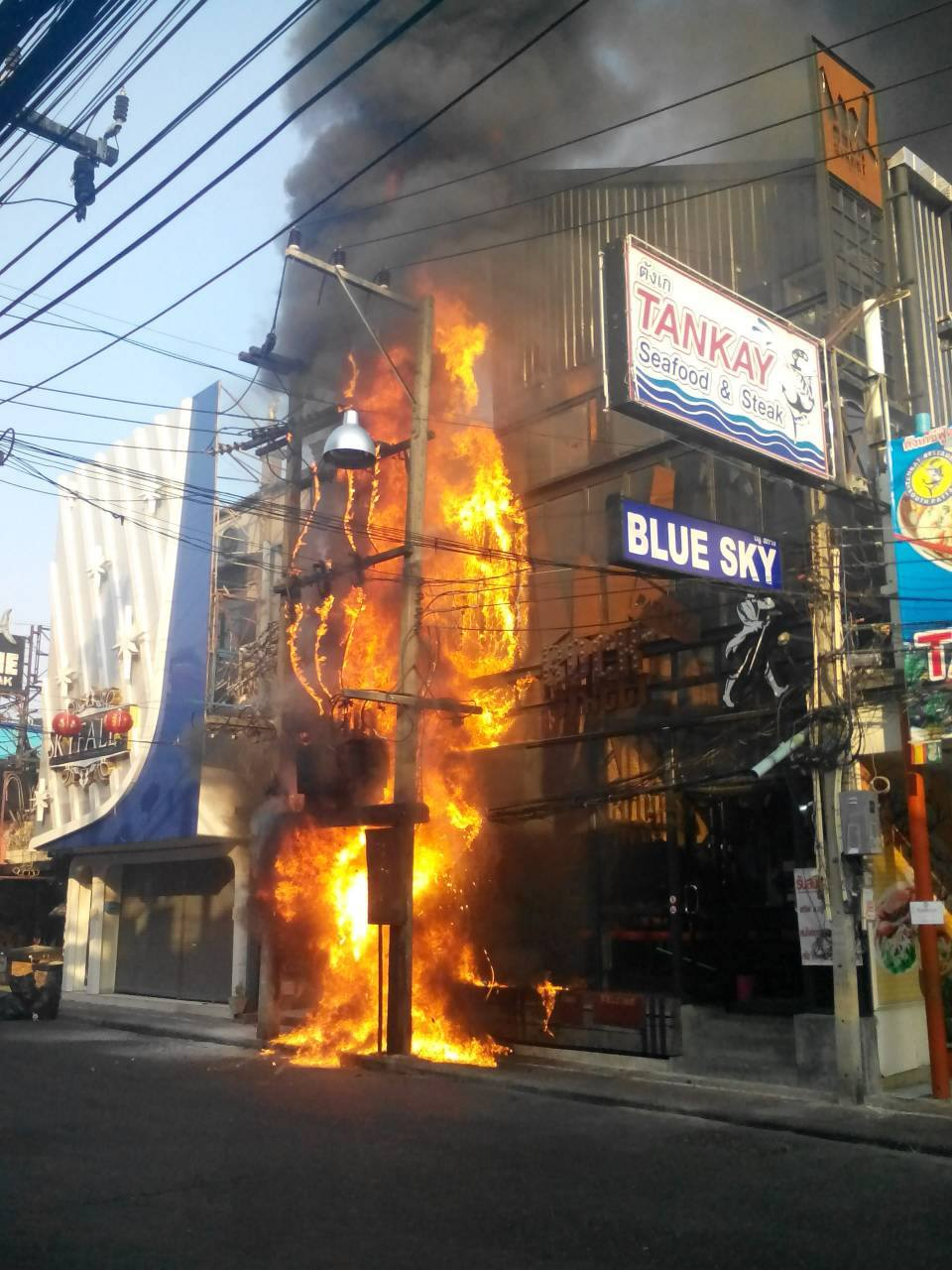 A squirrel sparked an explosion and fire that destroyed the Blue Sky Rock Street bar on Walking Street.