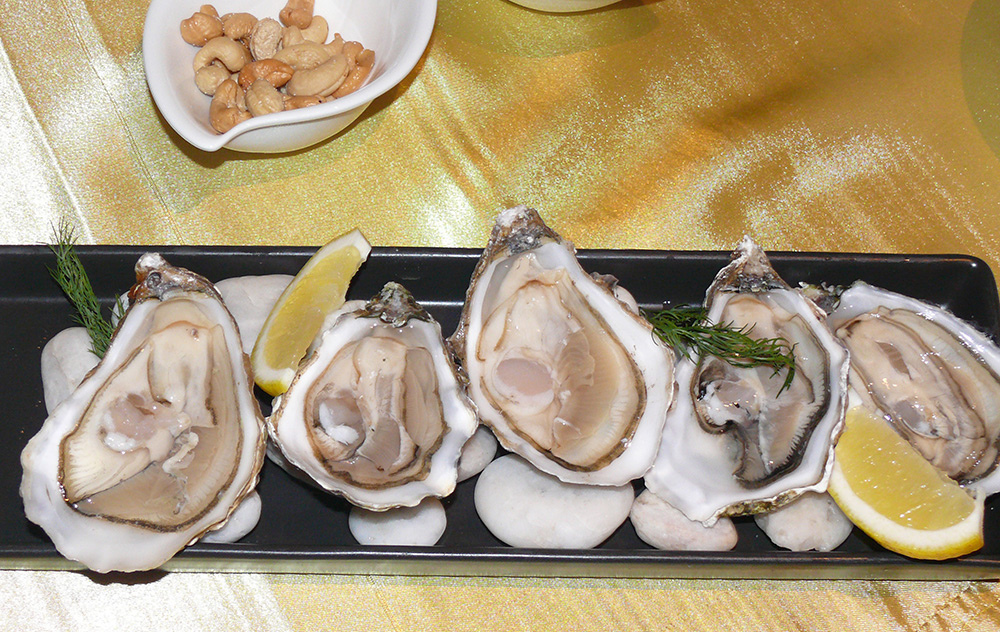 The succulent oysters.