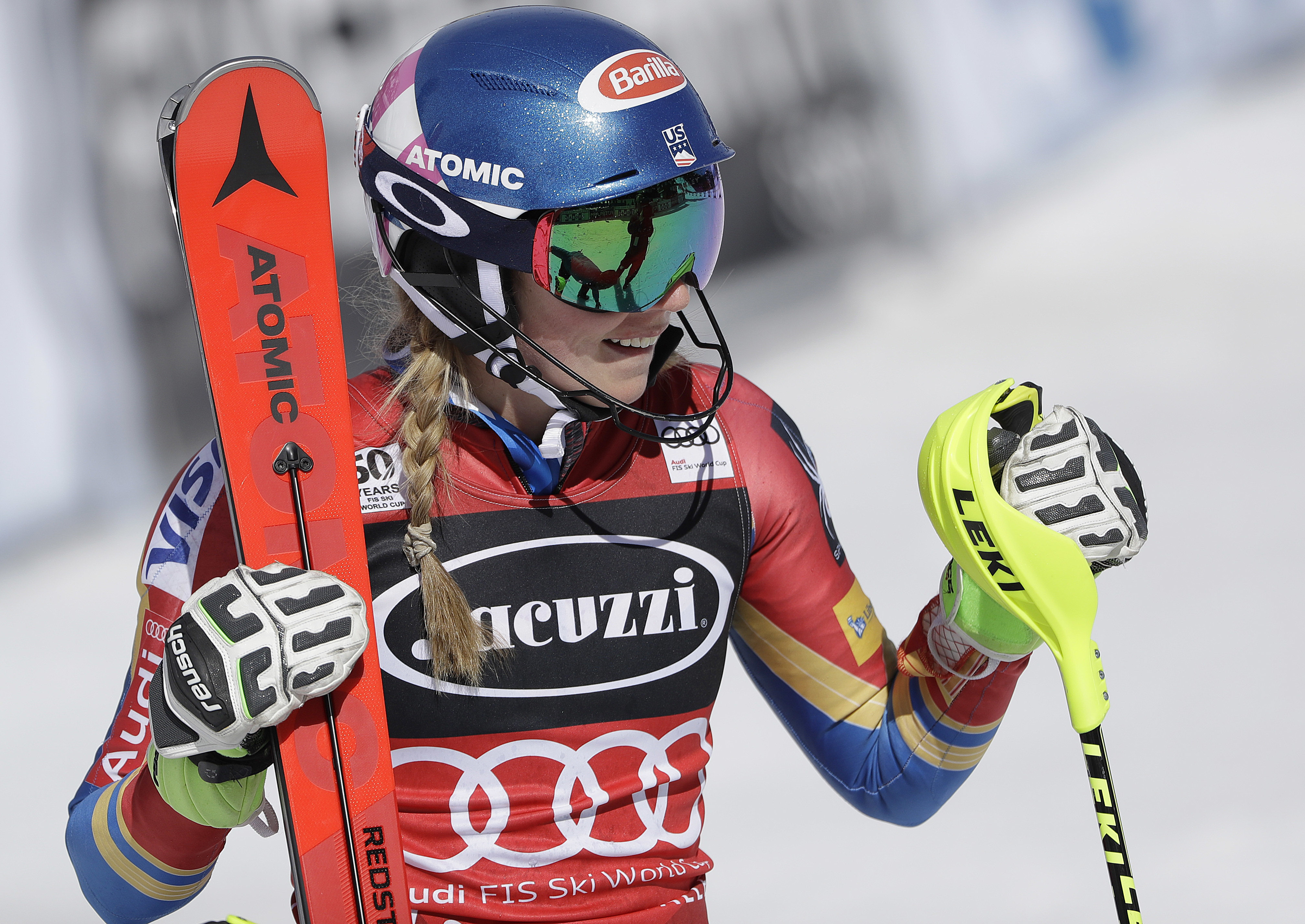 Mikaela Shiffrin smiles after the second run in the women's World Cup slalom competition Saturday, March 11, , in Olympic Valley, Calif. (AP Photo/Marcio Jose Sanchez)