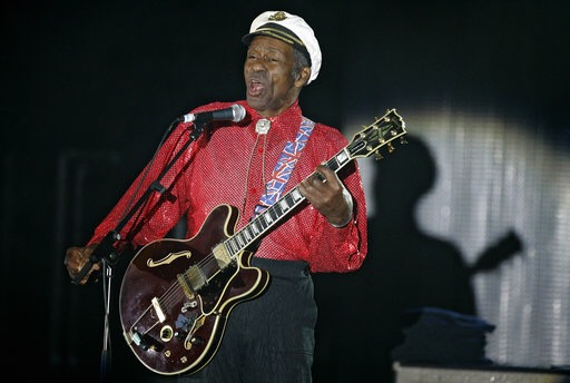 "In this Saturday, March 28, 2009 file photo, American guitarist, singer and songwriter Chuck Berry performs during the ""Rose Ball"" in Monaco.(AP Photo/Lionel Cironneau)"