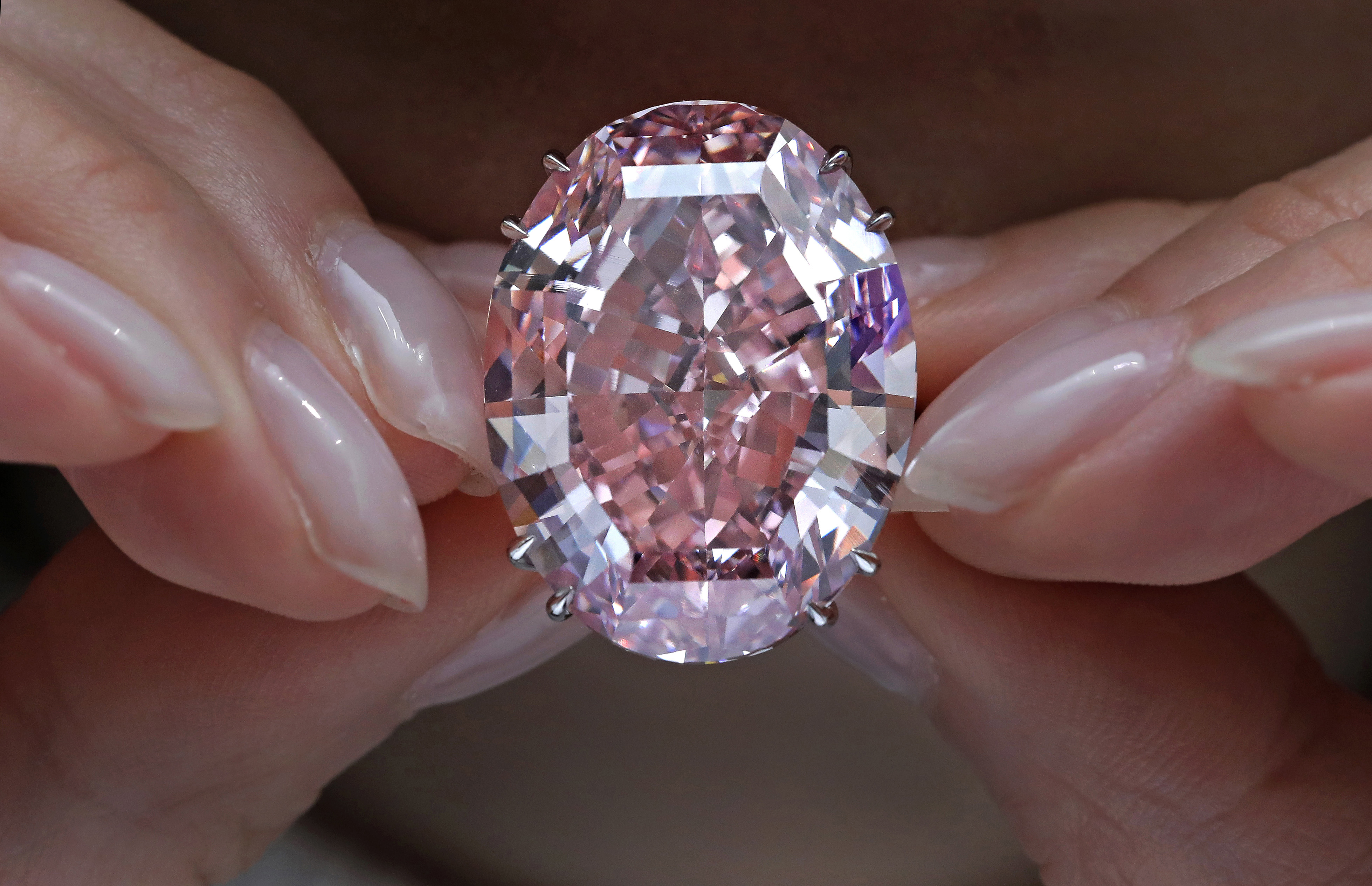 """The """"Pink Star"""" diamond is shown in this March 29, 2017, file photo. (AP Photo/Vincent Yu)"""